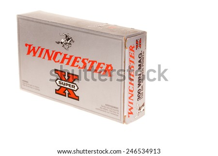 Hayward, CA - January 13, 2015: Box of Winchester Super X ammunition in 300 Win Mag