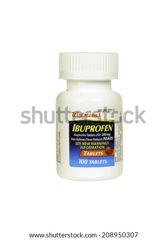 Hayward, CA - July 30, 2014: bottle of 100 Walgreens brand Ibprofen 200mg tablets