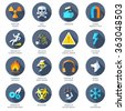 Hazard Icons Flat - stock vector
