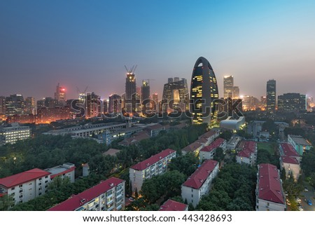 Haze in Beijing China city night sunset