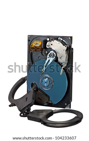 HDD locked by handcuffs for crime