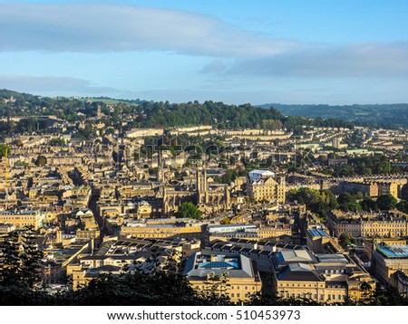 HDR Aerial view of the city of Bath, UK
