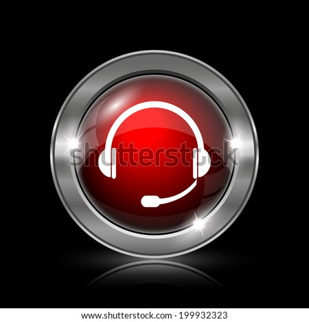 Headphones icon. Metallic internet button on black background.