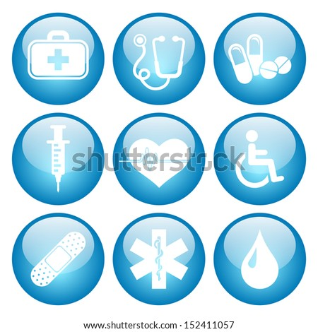 Health and Medical Icon Set with Glass Button Icons.  Raster version.