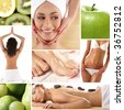 Health and spa collage illustrating spa treatments, dieting, healthy nutrition, yoga, alternative therapy and etc. - stock photo