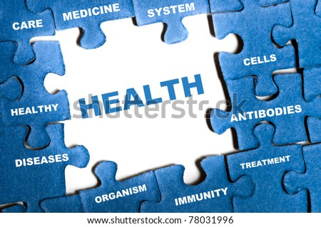 Health blue puzzle pieces assembled
