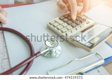 Health Care Costs Concept Picture Stethoscope Stock Photo 474159382