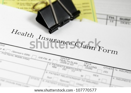 Health insurance claim form and medical bills