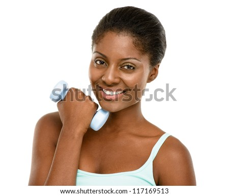 Healthy African American Woman exercising using dumbbells isolated on white background