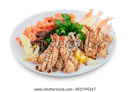 healthy and tasty seafood salad with shrimps on a white background in the restaurant menu. eating concept