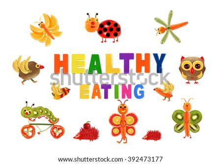 Healthy eating. Little funny vegetables around the word HEALTHY EATING