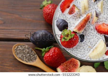 Healthy eating super foods - chia seeds and fruits.