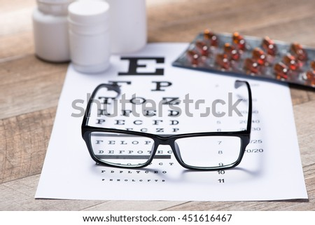 Healthy eyes. Eye chart and medicine