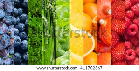 Healthy food backgrounds, ten images of strawberries, lemons, asparagus, raspberries, plums, blueberries, pumpkins, lettuce, parsley and oranges