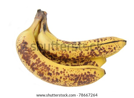 Healthy Fresh Ripe Yellow Speckled Bananas with copy space