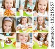 Healthy nutrition. cute little girl eating her breakfast in the kitchen - stock photo