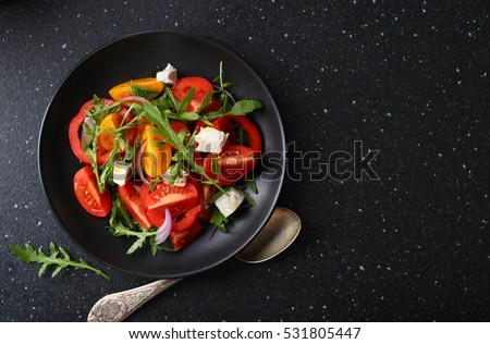 Healthy salad on plate, food top view