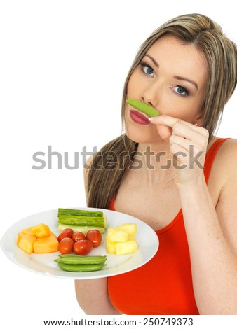 Healthy Young Woman Eating Five A Day