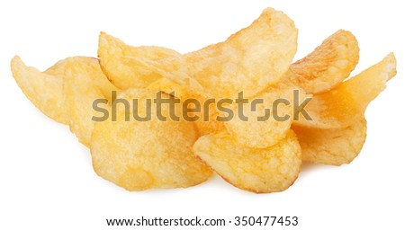 heap of appetizing potato chips isolated on white background