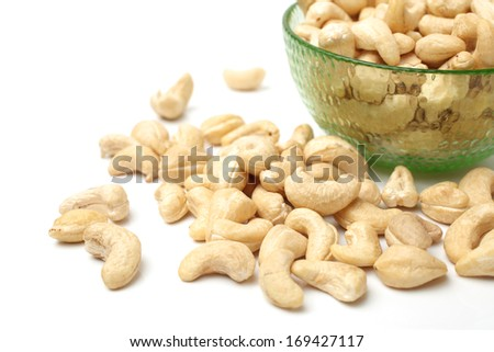 Heap of Cashew on white background