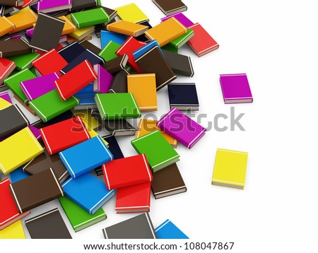 Heap of Colorful Books isolated on white background with place for your text