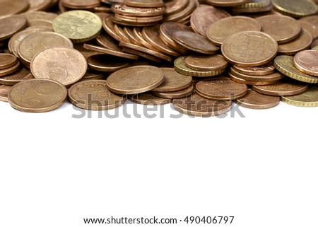 Heap of different eurocent coins with blank space at bottom
