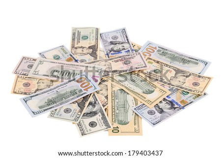 Heap of dollars. Isolated on a white background.