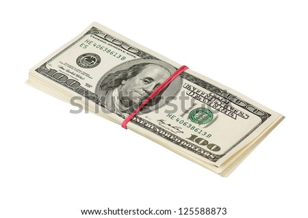 Heap of dollars with red rubber isolated on a white background