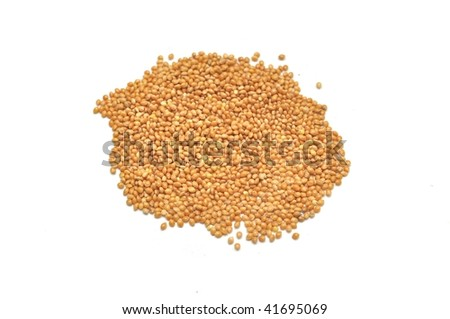 Heap of millet on white ground