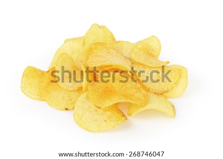 heap of organic potato chips isolated on white