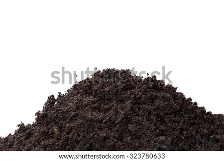 Heap of soil humus isolated on white background