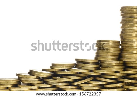 Heaps and Stacks of Gold Coins Forming Bottom Frame Border