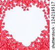 heart Frame made of small red hearts on the white background - stock photo