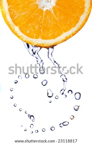 heart from water drops on orange isolated on white