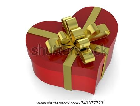Valentine gift box straight golden ribbon stock illustration heart gift packet 3d negle Choice Image
