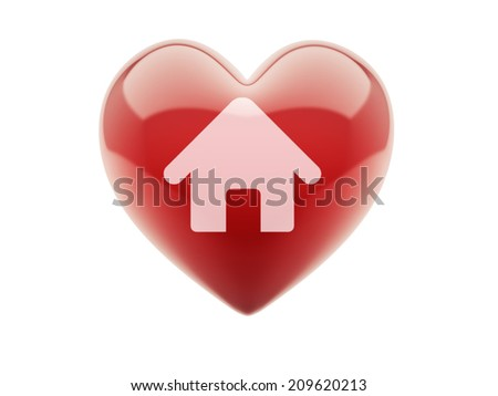 Heart Home Icon isolated on white