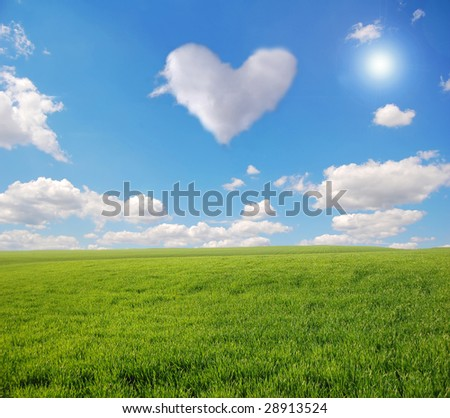 heart in sky and green field