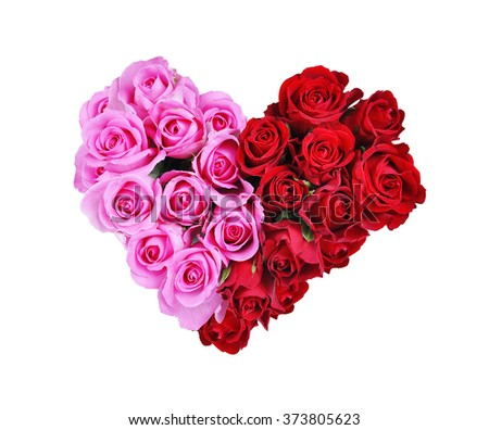 Heart of red and pink roses isolated on white