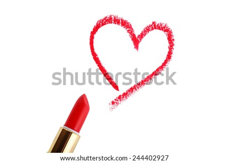 Heart shape drawn with lipstick