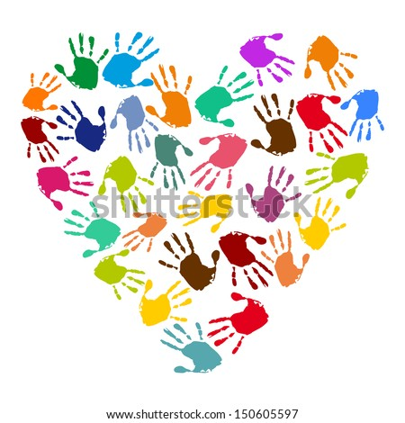 heart with colorful handprints