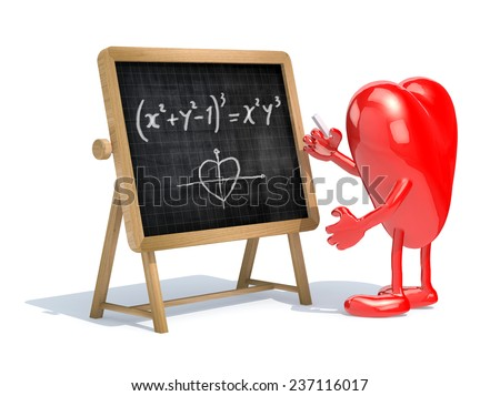 heart with his arms and legs in front of the blackboard writing a mathematical formula