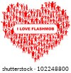 heart with many abstract happy people (i love flashmob) - stock photo