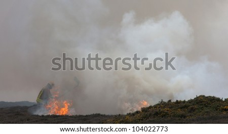 Heath Fire on The Range Isle of Anglesey North Wales being fought by firemen