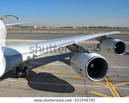 Heavy cargo aircraft wing view with cargo door open wide view