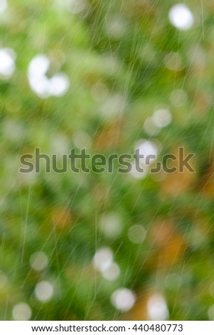 Heavy rain falling against floral background