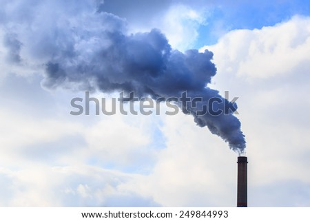Heavy smoke and coal powered plant stacks