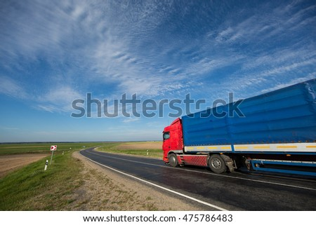 heavy-truck driving on road