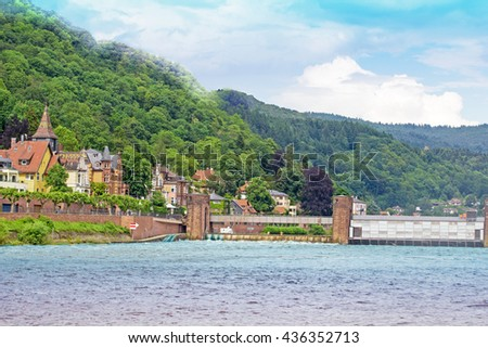Heidelberg Panoramic view. Quay of Neckar river and dam in Heidelberg, Germany.