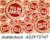 hell on earth, red stamp on a grunge paper texture - stock photo