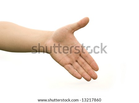 Helping hand with the white background